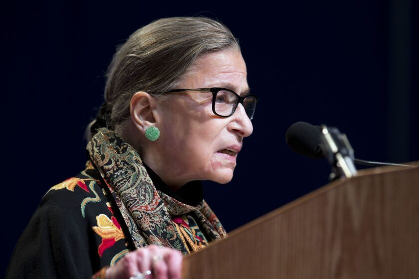 U.S. Supreme Court Justice Ruth Bader Ginsburg, the oldest currently serving justice, speaks at Brandeis University in Waltham, Mass. on Jan. 28.