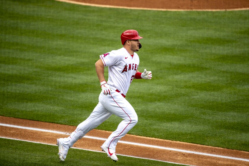 Los Angeles Angels center fielder Mike Trout (27) runs the bases after hitting a homer