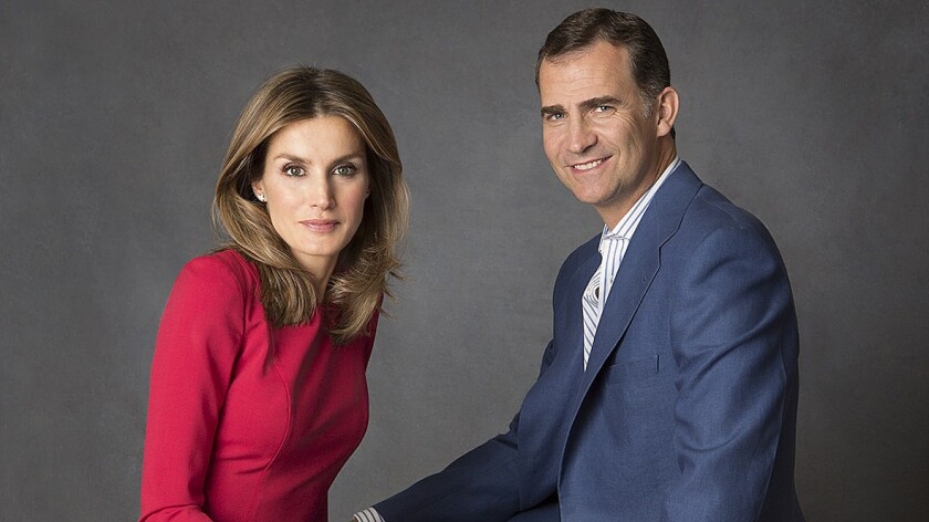 Spanish Crown Prince Felipe with his wife, Princess Letizia, in an official portrait taken at their residence in Madrid.