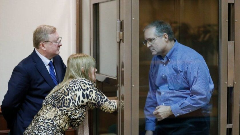 Paul Whelan, right, and his lawyer Vladimir Zherebenkov speak through an interpreter during a hearing of an appeal of his arrest at the Moscow City Court on Jan. 22, 2019. Russian security detained Whelan on suspicion of spying on Dec. 28, 2018 in Moscow.