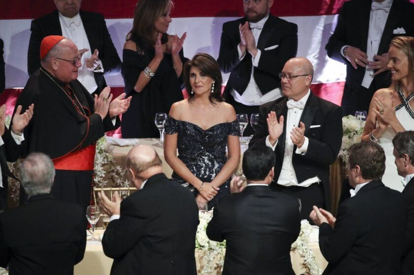 U.S. Ambassador to the United Nations Nikki Haley poked fun at herself, President Trump, Elizabeth Warren and Mayor de Blasio at the annual charity event.