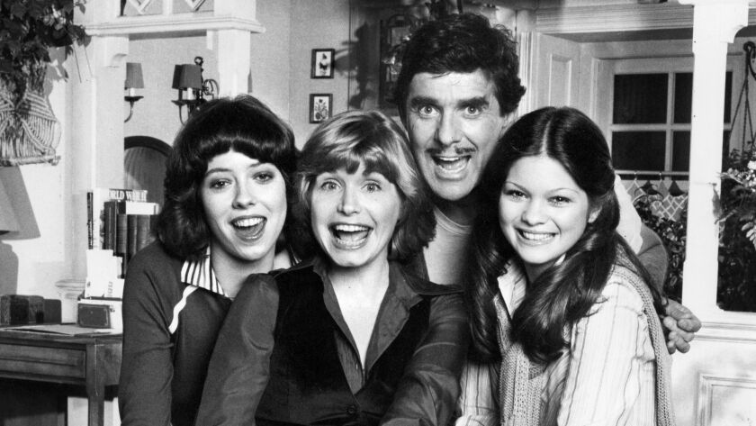 """The original """"One Day at a Time"""" cast members, from left: Mackenzie Phillips as Julie Cooper, Bonnie Franklin as Ann Romano Royer, Pat Harrington Jr. as Schneider,  Valerie Bertinelli as Barbara Cooper."""