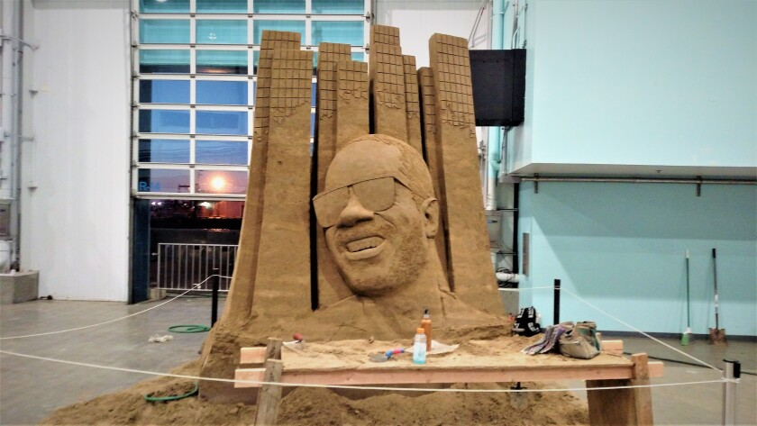 While artist Abe Waterman was creating this sculpture of Stevie Wonder downtown during the recent 2019 U.S. Sand Sculpting Challenge, he was tuned in to the local environment and the many homeless in the downtown area.