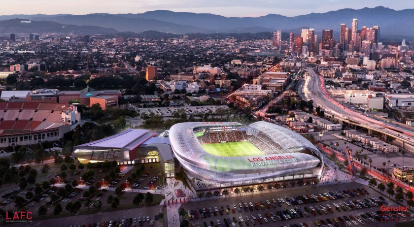 An artist's rendering shows the new soccer stadium to be built in Exposition Park.