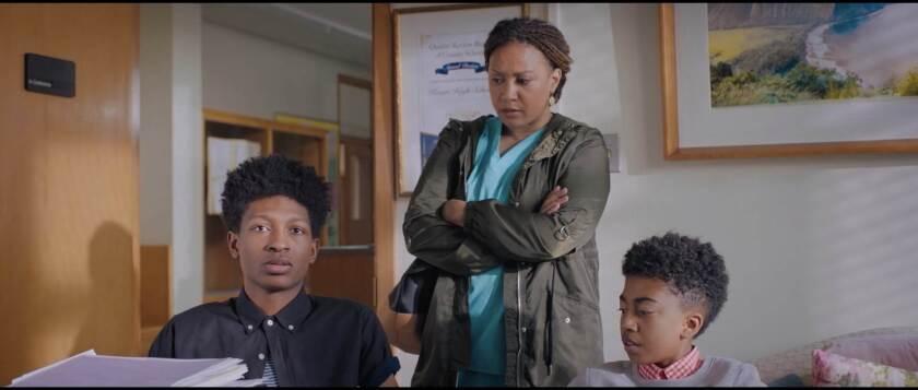 Skylan Brooks, Tracy Thoms, Miles Brown in 'Boy Genius'