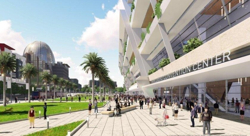 The Chargers' plan for a $1.8 billion downtown project includes a convention center adjoining a new stadium.