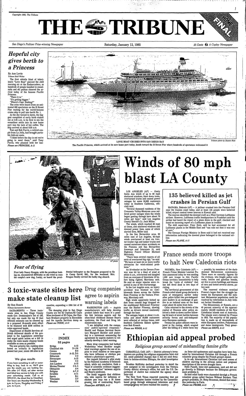 January 12, 1985 front page
