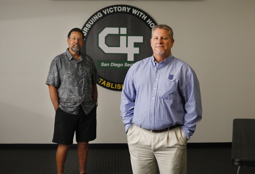 John Labeta (left) is outgoing assistant commissioner; Jerry Schniepp is outgoing commissioner of CIF's San Diego Section.