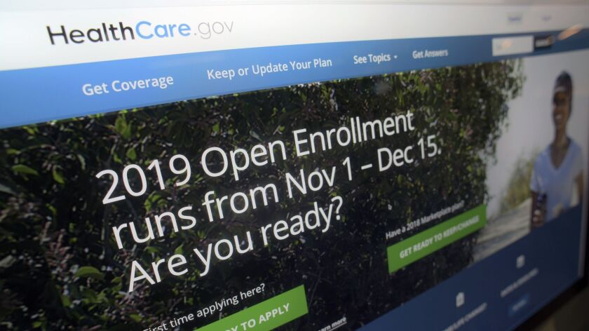 This Tuesday, Oct. 23, 2018 photo shows HealthCare.gov website on a computer screen in New York. The