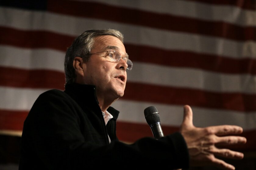 "Republican presidential candidate Jeb Bush addresses an audience at a campaign event on Nov. 3. Bush recently said he believes ""we're on the verge of the greatest time to be alive."""