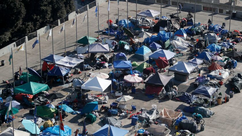 A view of the large homeless encampment at the at the Plaza of the Flags next to Santa Ana City Hall in Santa Ana, Calif., on Dec. 19, 2017.