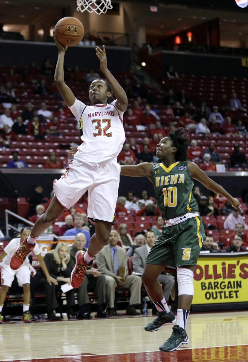 Maryland guard Shatori Walker-Kimbrough, left, shoots over Siena guard Allison Mullings in the second half of an NCAA college basketball game in College Park, Md., Monday, Dec. 9, 2013. (AP Photo/Patrick Semansky)