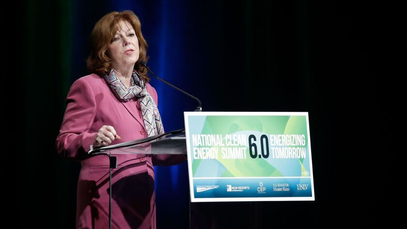 Sempra Energy CEO Debra Reed speaks during the National Clean Energy Summit 6.0 in Las Vegas in 2013. Reed said Monday she is stepping down.
