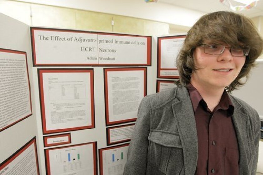 Adam Woodnutt with his project 'The Effect of Adjuvant-primed Immune Cells on HCRT Neurons'
