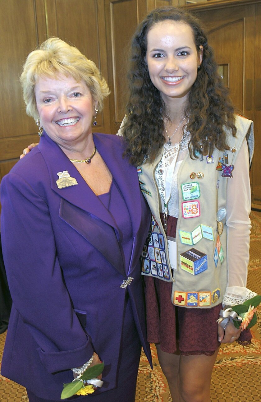 """4S Ranch resident Elena Crespo, right, is the """"Cool Girl of 2015."""" She is pictured with Dr. Karen Hayes, president of California State University San Marcos, another """"Cool Woman"""" honoree at Tuesday's luncheon."""