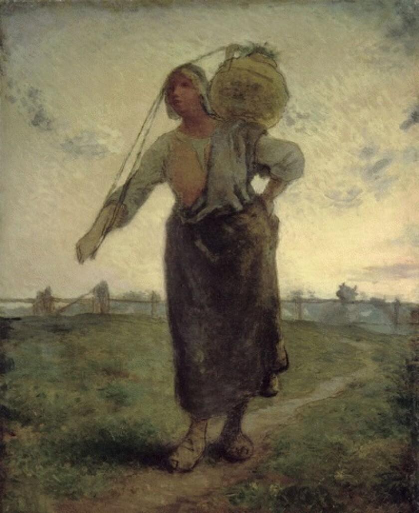 """Norman Milkmaid in Gréville,"" 1874. By Jean-Francois Millet"