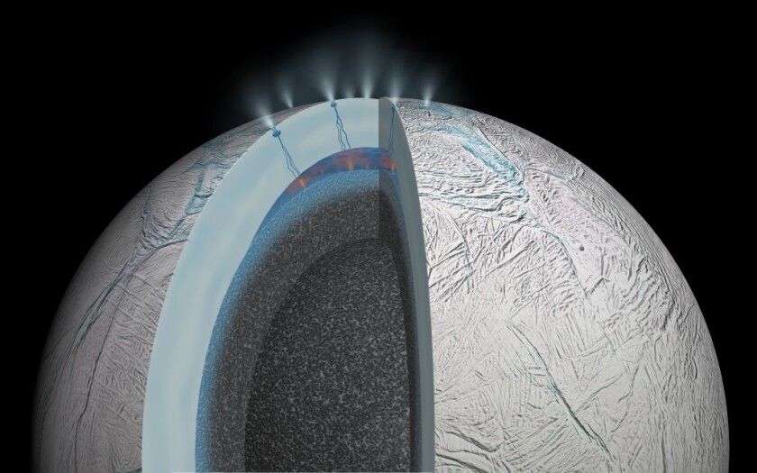 This artist's impression of the interior of Saturn's moon Enceladus shows that interactions between hot water and rock occur at the floor of the subsurface ocean -- the type of environment that might be friendly to life, scientists say.