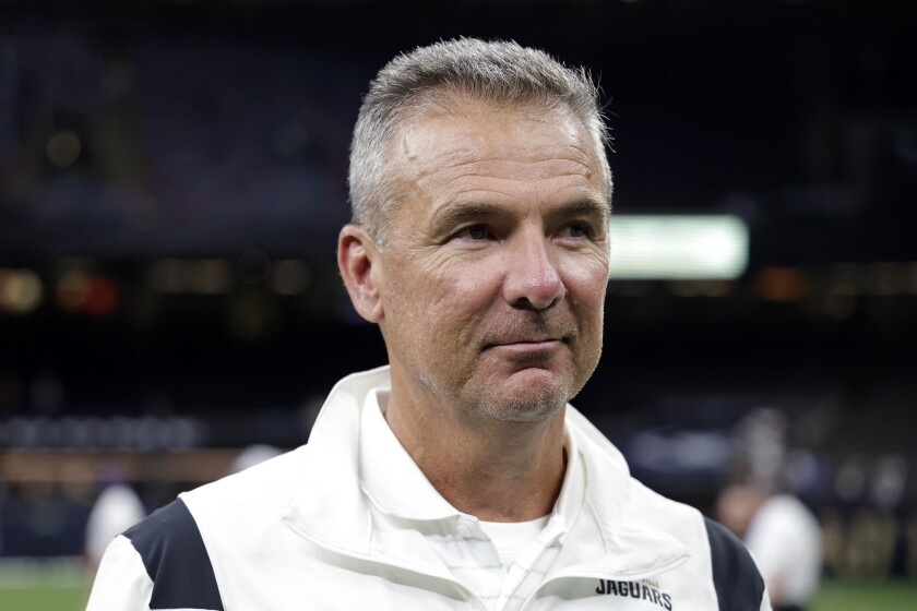 Jacksonville Jaguars head coach Urban Meyer walks off the field after a game against the New Orleans Saints on Aug. 23.