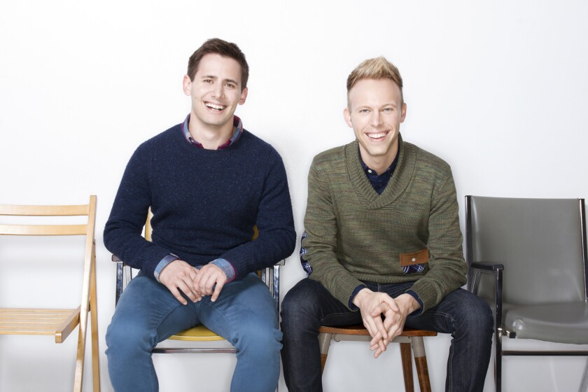 "Benj Pasek, left, and Justin Paul, the lyricist-composers of ""Dear Evan Hansen."""