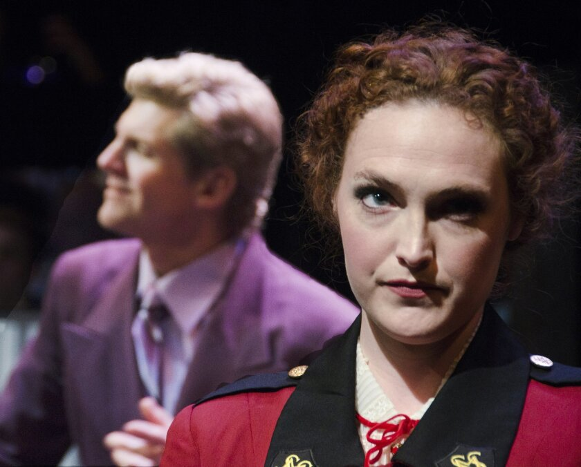 """Brent Schindele and Kelsey Venter in """"Guys and Dolls"""" at Lamb's Players Theatre."""