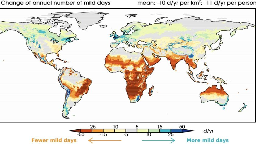 This image shows climate change effects on patterns of mild weather.