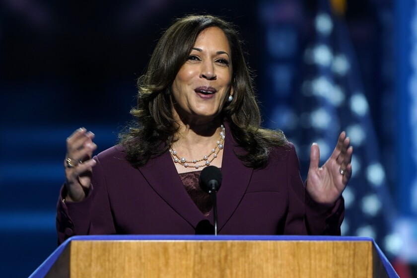 Democratic vice presidential candidate Kamala Harris addresses the convention.