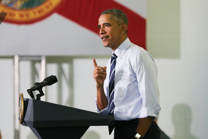 President Barack Obama speaks following his tour of the Saft America factory in Jacksonville, Fla., Friday, Feb. 26, 2016. The plant opened in 2011 with help from federal money from economic stimulus package Obama pushed through Congress in 2009. (AP Photo/Gary McCullough)