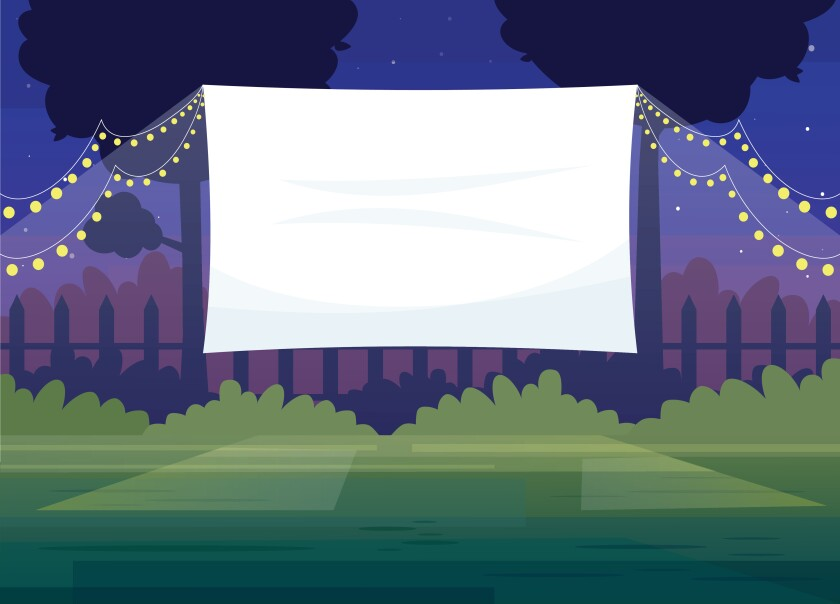 illustration of outdoor movie screen