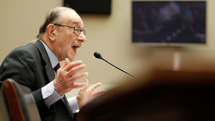 Former Federal Reserve Chairman Alan Greenspan testifies before the Financial Crisis Inquiry Commission in 2010.