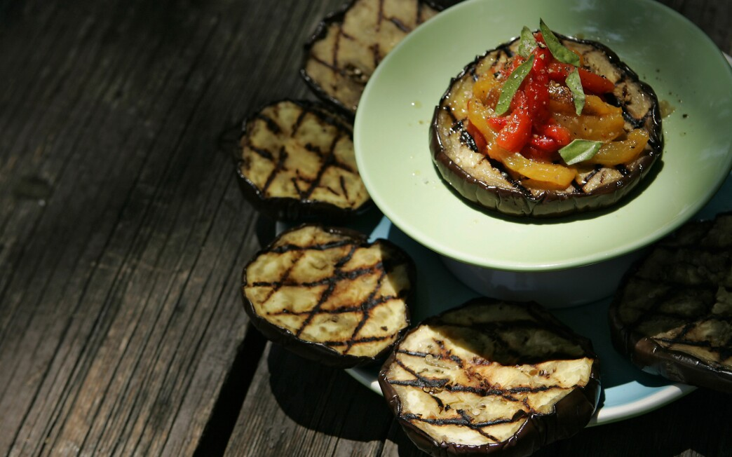Grilled eggplant with red and yellow peppers