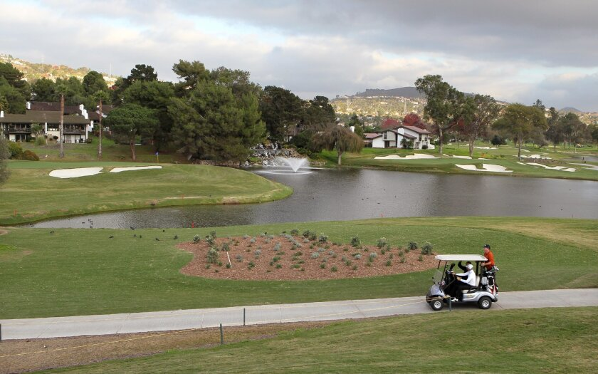 At the recently renovated La Costa Resort golf course the 15th. and 16th. greens are much closer together and closer to the lake. The 15th. green is at upper left and the 16th. green is at upper right.
