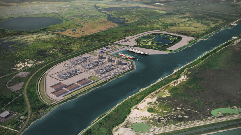 Computer rendering of Sempra's proposed Port Arthur LNG facility on the Texas Gulf Coast.