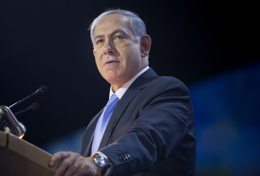 Israeli Prime Minister Benjamin Netanyahu at the American Israel Public Affairs Committee policy conference.