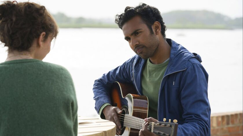 """Lily James and Himesh Patel in """"Yesterday."""""""
