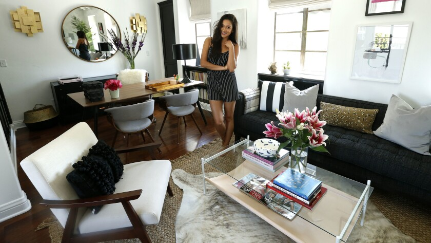 Mitchell inside the office/living/glam space at her home in Los Angeles.
