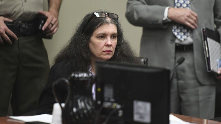Louise Turpin sits in a courtroom during a sentencing hearing Friday, April 19, 2019, in Riverside,