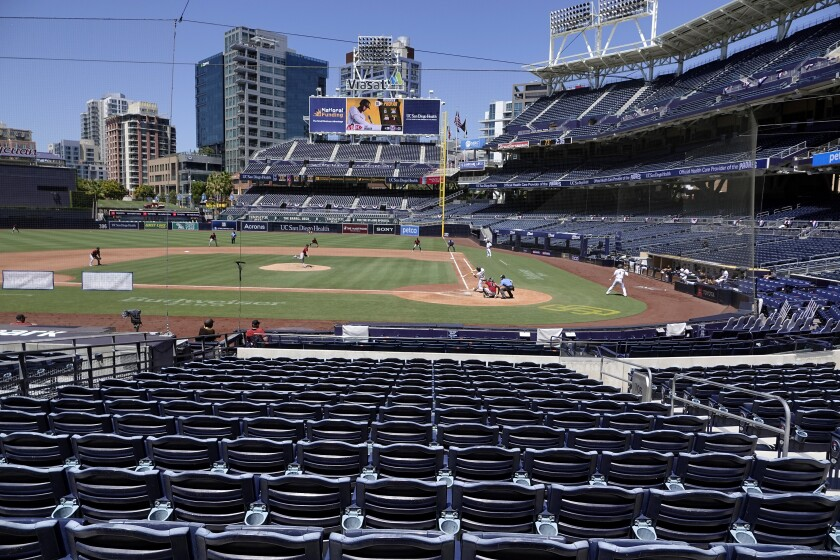 The Padres played the Diamondbacks in an empty Petco Park last month.