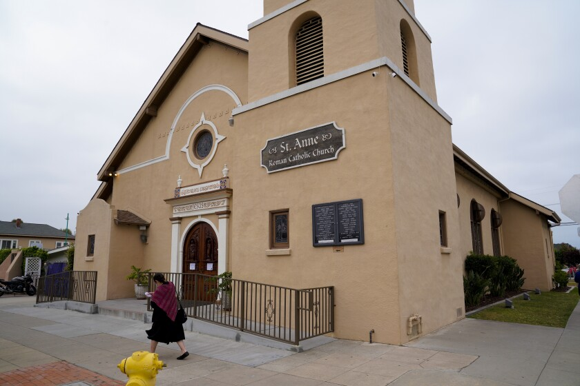 St. Anne Catholic Church in Logan Heights is closed to the public because of the pandemic.