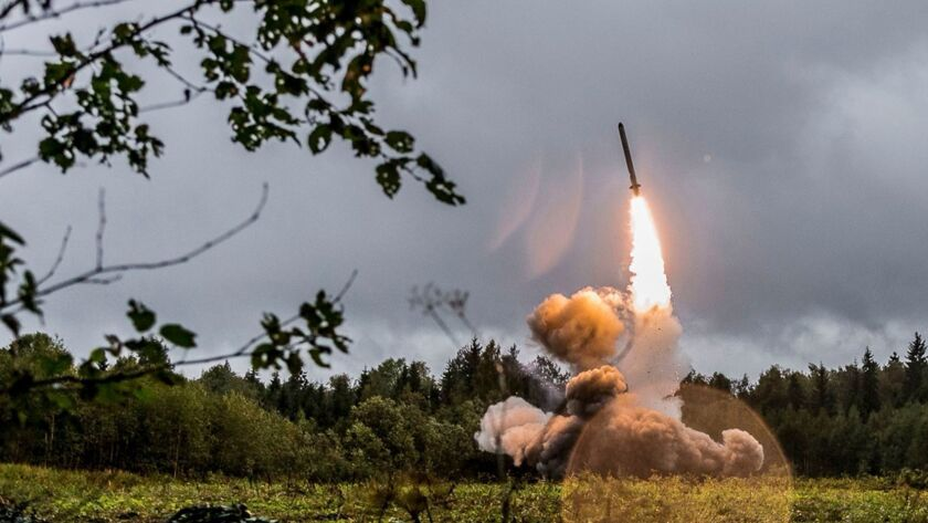 A missile is tested during military exercises in the Russia's St. Petersburg region.