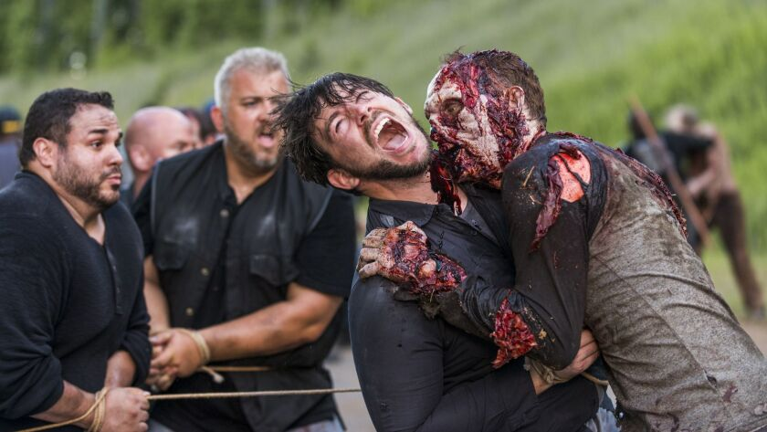 """A walker attacks during """"The Walking Dead."""""""