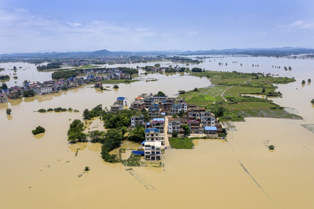 The flooding has turned Chengjiacun village into an island.
