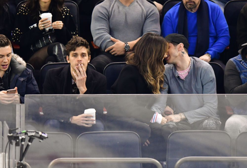 (A very uncomfortable) Antoni Porowski (left), Kate Beckinsale and Pete Davidson
