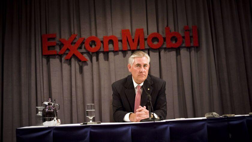 In 2008 as ExxonMobil chairman, Rex Tillerson spoke at a press conference.