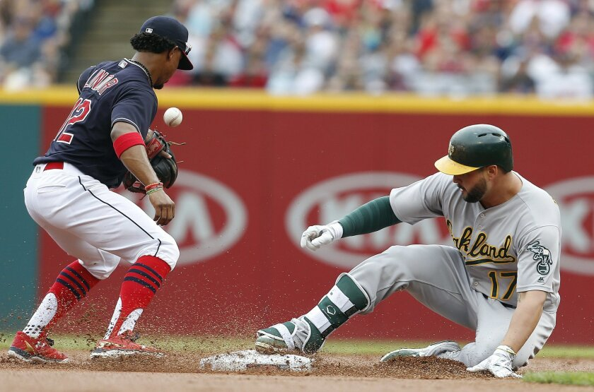 Oakland Athletics' Yonder Alonso (17) slides safely into second base after hitting a double as Cleveland Indians' Francisco Lindor takes the throw during the first inning of a baseball game Sunday, July 31, 2016, in Cleveland. (AP Photo/Ron Schwane)