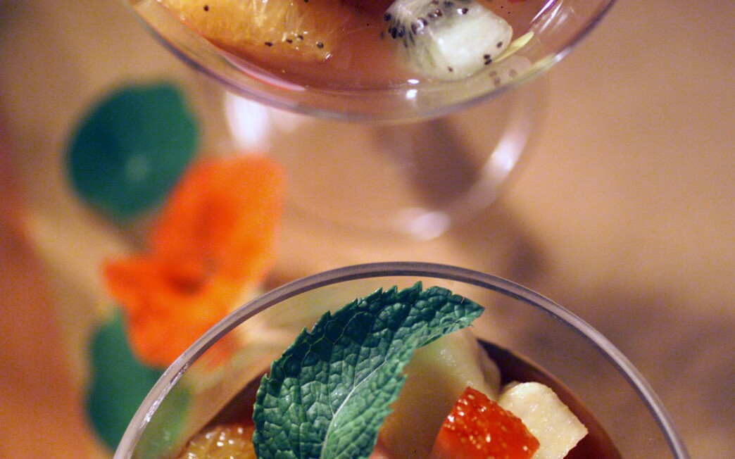 Fruit Cocktail With Almond and Poppy Seed Syrup