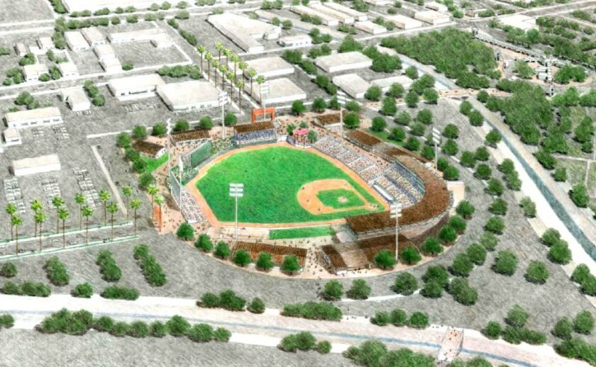The proposed minor league ballpark in Escondido needs $50 million in redevelopment funds to move forward.
