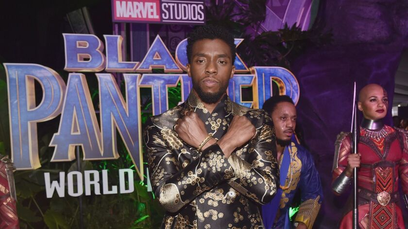 """Chadwick Boseman at the Los Angeles world premiere of Marvel Studios' """"Black Panther"""" at Dolby Theatre on Monday in Hollywood."""