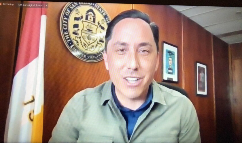 """San Diego Mayor Todd Gloria during the District 5 """"Meet the Mayor"""" virtual town hall on Saturday."""
