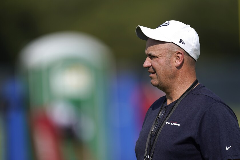 Texans coach Bill O'Brien watches during training camp practice Aug. 21 in Houston.