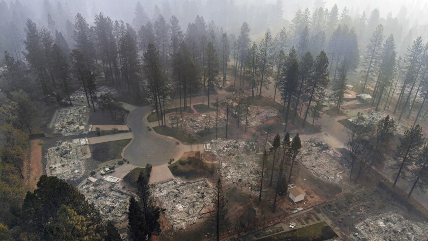 Aerial view of destruction from the Camp fire in Paradise off of Clark Road.